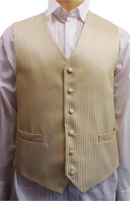 One Off Joblot of 12 Mens Gold Stripe Waistcoats Ex Wedding Hire 27