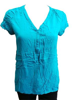 Wholesale Joblot of 10 Ladies De-Branded Turquoise V-Neck Blouses Sizes 10-24