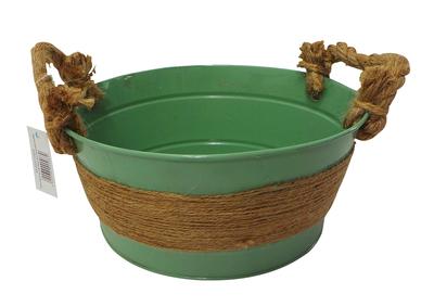 Wholesale Joblot of 180 Tbl Fitzrovia Jute Sage Zinc Bowls With Handles 3 Sizes