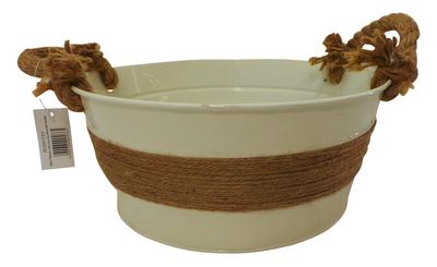 Wholesale Joblot of 180 Tbl Fitzrovia Jute Ivory Zinc Bowls With Handles 3 Sizes