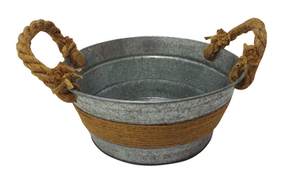 Wholesale Joblot of 60 Tbl Fitzrovia Jute Antiqued Zinc Bowl With Handles 20cm