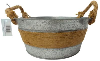 Wholesale Joblot of 60 Tbl Fitzrovia Jute Antiqued Zinc Bowl With Handles 25cm