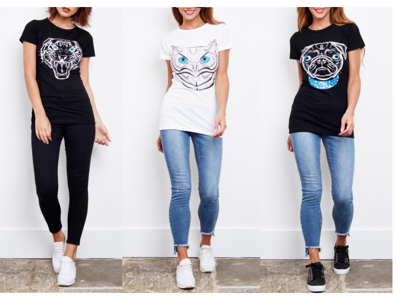 Joblot of 200 Ladies Animal T Shirts Womens Tiger Pug Owl Print
