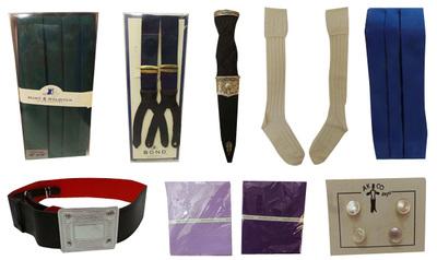 One Joblot of 59 Assorted Wedding Cummerbunds, Braces, Belts, Handkerchiefs