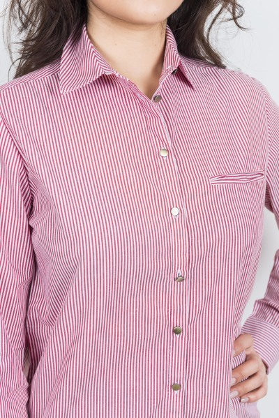 Women's Ladies Shirt Top Striped Cotton Full Sleeve