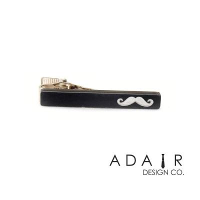 Black Acrylic Moustache Pattern Tie Clip