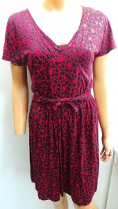 One Off Joblot of 12 Ladies Red Half Sleeve Leopard Print Dresses Size 8