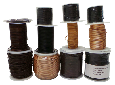 Joblot of 617m of High Quality Mixed Colour Round Leather Cords 1.5mm Wide