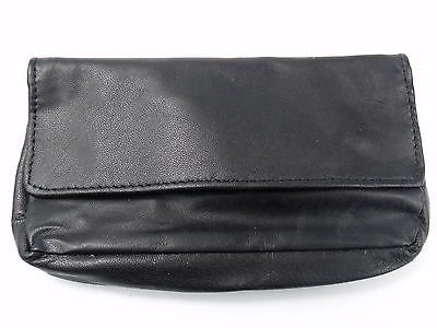 JOB LOT Soft Black Nappa Leather Tobacco Pouch with Rubberised Lining - Holds 50g - 1 CARTON - 96 PIECES