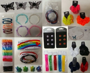 Joblot of 1000 Mixed Hair Accessories packets including clips, scrunchies