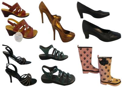 One Off Joblot of 9 Mixed Ladies Defected Shoes Sandals, Heels, Wellies Etc