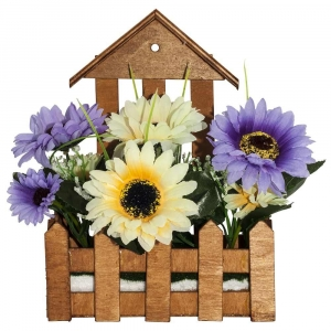 One Off Joblot Of 17 Artificial Yellow and Purple Daisies in Wooden Planters