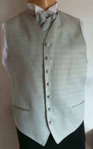 Wholesale Joblot of 10 Mens Gold Diamond Check on Silver/Blue Waistcoats