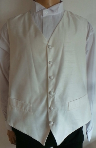 One Off Joblot of 14 Mens Beau Monde Ivory Faint-Stripe Waistcoats