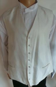One Off Joblot of 9 Boys Ivory Diamond-Pattern Waistcoats Mixed Sizes