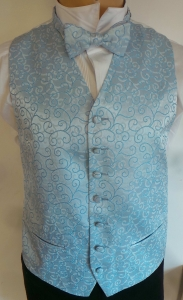 One Off Joblot of 9 Boys Blue Swirl Waistcoats With Matching Accessories