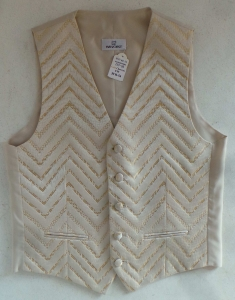 One Off Joblot of 10 Mens Gold Chevron Waistcoats With Matching Accessories