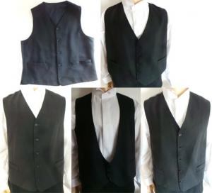 One Off Joblot of 8 Mens Grey, Black & Navy Waistcoats Various Styles & Sizes