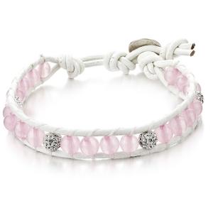 Joblot of 10 Shimla Bracelets Rose Quartz & White Crystal 'Fireball' Beads SH064