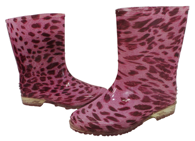 Wholesale Joblot of 10 Girls Pink Leopard Print Wellington Boots Sizes 10-2
