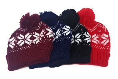 10 x Festive Beanie Hat Snowflake Print for Christmas / Winter