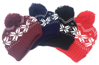 160 x Festive Beanie Hat Snowflake Print for Christmas / Winter