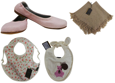 One Off Joblot of 4 Fendi Mixed Childrens Items - Bibs, Flats & A Poncho