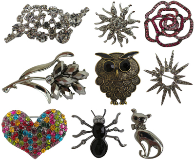 Wholesale Joblot of 40 Womens Brooches Assorted Designs & Colours