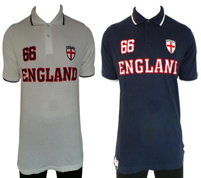 Wholesale Joblot of 10 Mens England 66 Polo Shirts White & Navy Sizes S-XXL
