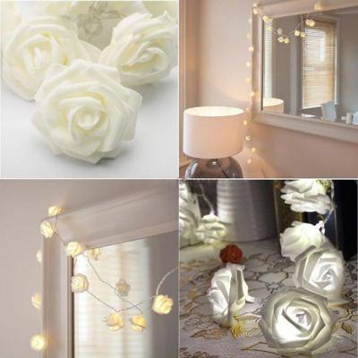 Joblot of 50 x 20 LED White Flower Light - Rose Battery Operated Fairy String Light - Decorative Indoor Bedroom - Party Decor - Wedding - Gift - Home
