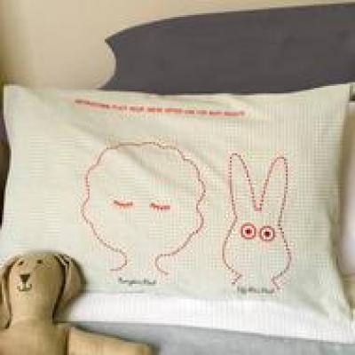 Children's Gingham Bunny Pillowcase