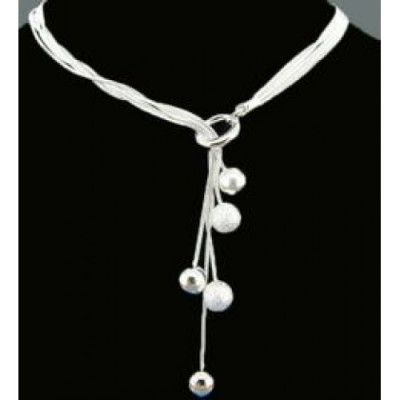 Joblot of 50 x Silver Costume Drop Ball Necklace - Ladies Valentine Fashion Jewellery - Womens Charm Pendant - Multi-Layer Chain - Gift