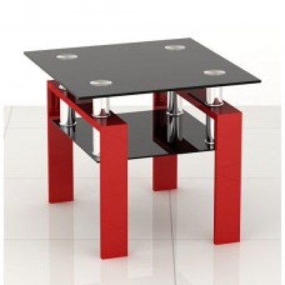 Square Black glass coffee side end table with ref legs