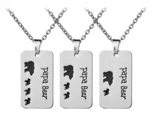 Wholesale Joblot of 10 Silver Papa Bear Engraved Necklaces