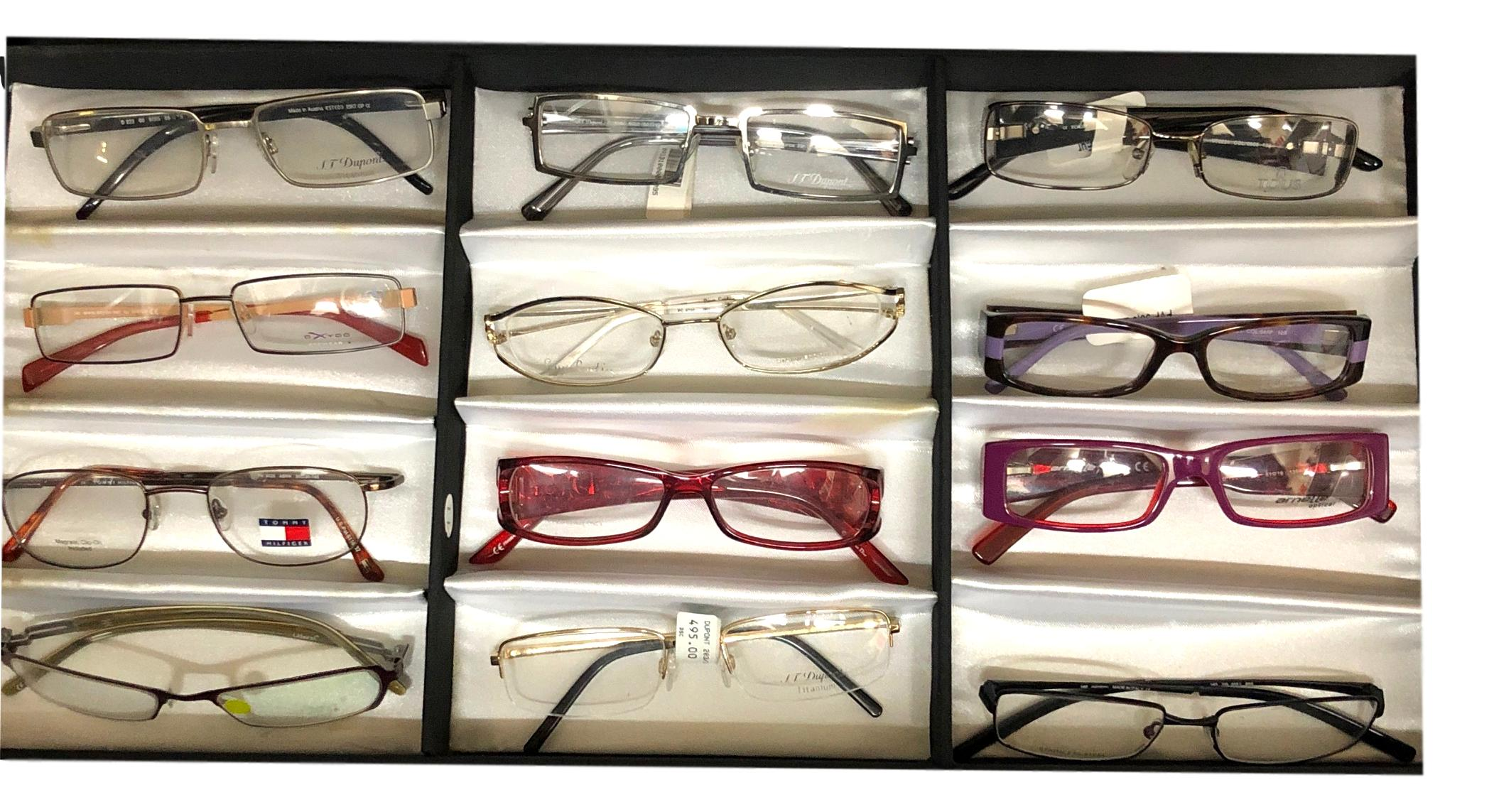 12 Pairs Designer Optical Frames Dior , Dupont, Hilfiger & More Titanium Various Frames