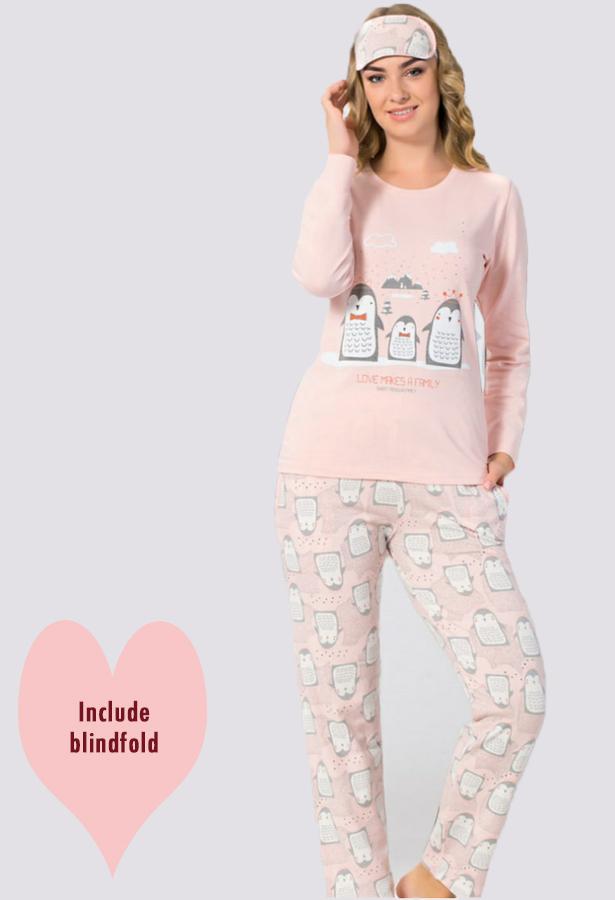 Joblot of 16x Ladies PJ Sets(Inc.Blindfold) 4 Designs Cotton 3 pcs PJ Sets