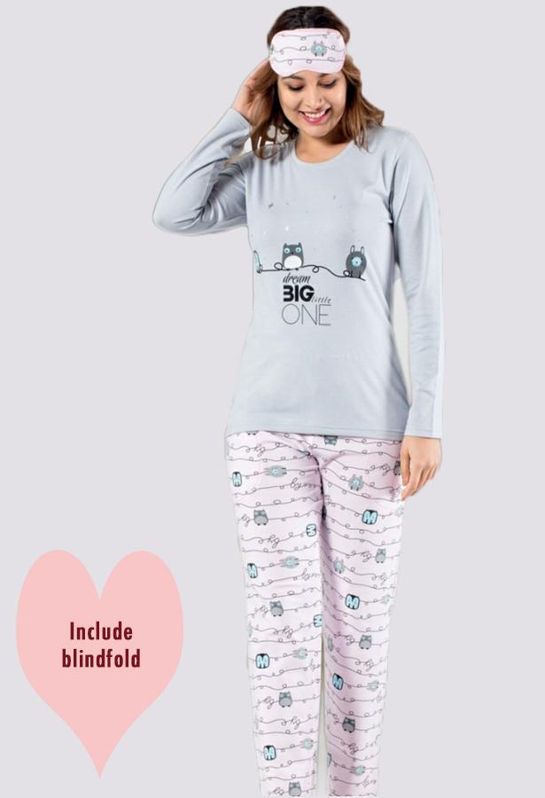 8 Pieces Cotton Woman Buttoned PJ Set with Blindfold (2 mix designs)