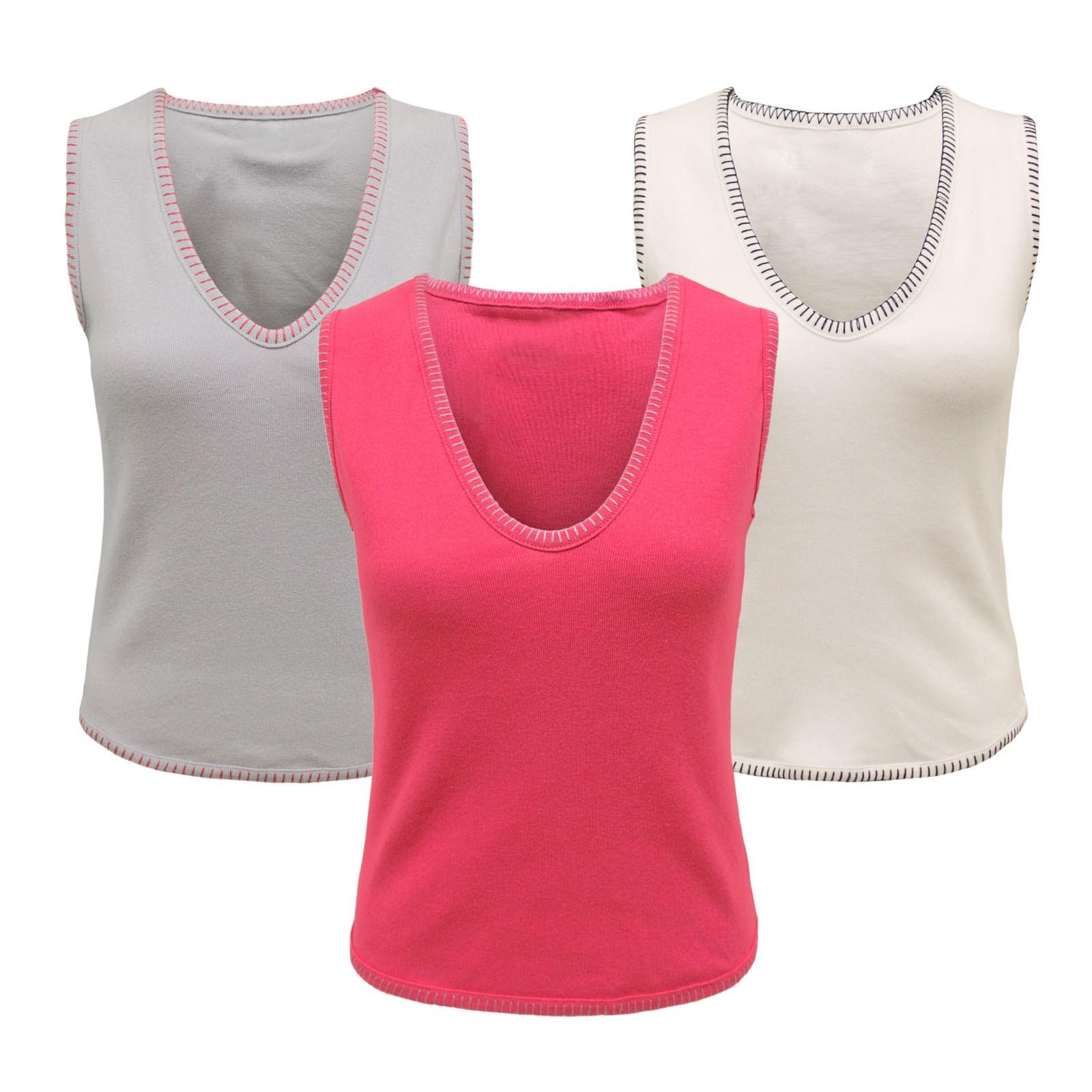 Wholesale Joblot of 18 Ladies V Neck Sleeveless Casual 100% Cotton Top