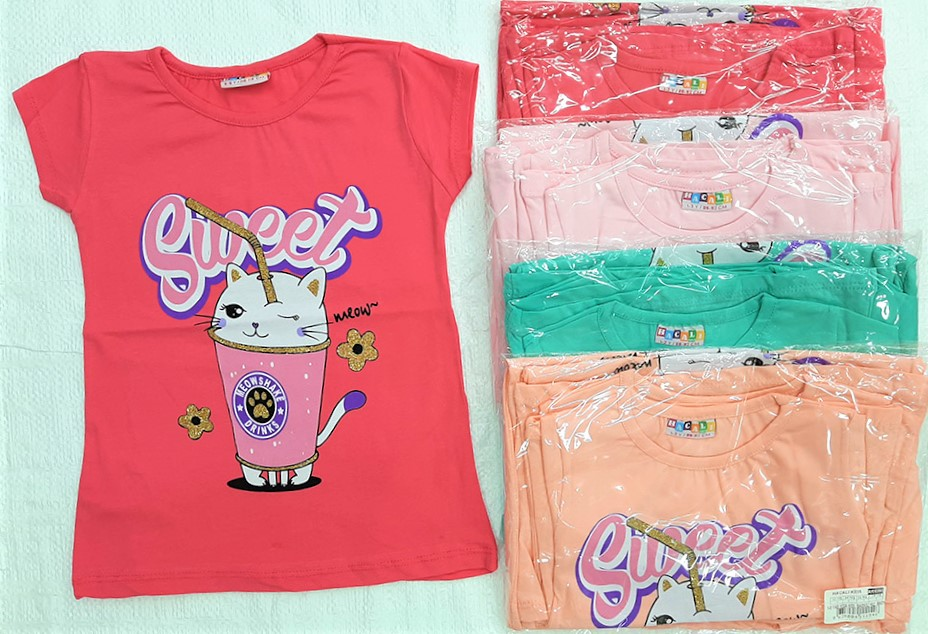 Wholesale 80 Pieces of High Quality Girls Sequined T-Shirts 9-10-11-12 Years