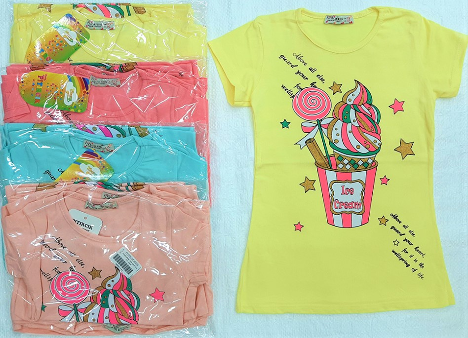 Job Lots of 20 Pcs High Quality Sequined Girls T-Shirts, 5 colours, 9-10-11-12 Years