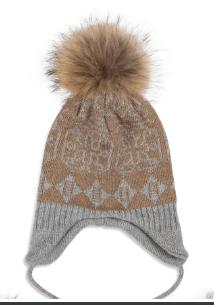 Sommerville 100% Cashmere  Job Lot Of 16 Camel/Grey Patterned Eskimo Hats With Fur Pom Poms  One Size BNWT