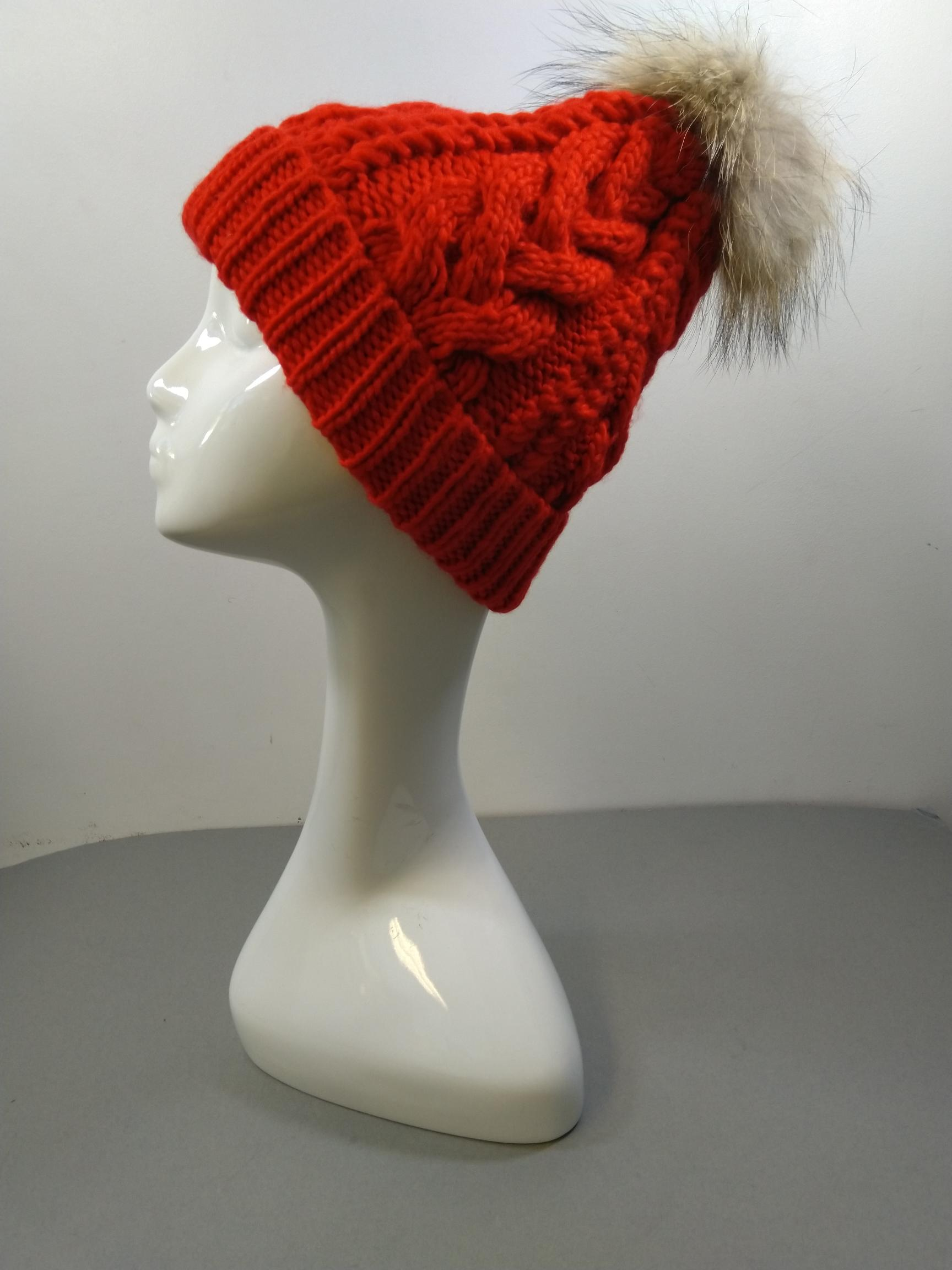 Sommerville Job Lot Of 59 Hand Cable Knitted Red Hats With Fur Pom Pom One Size BNWT