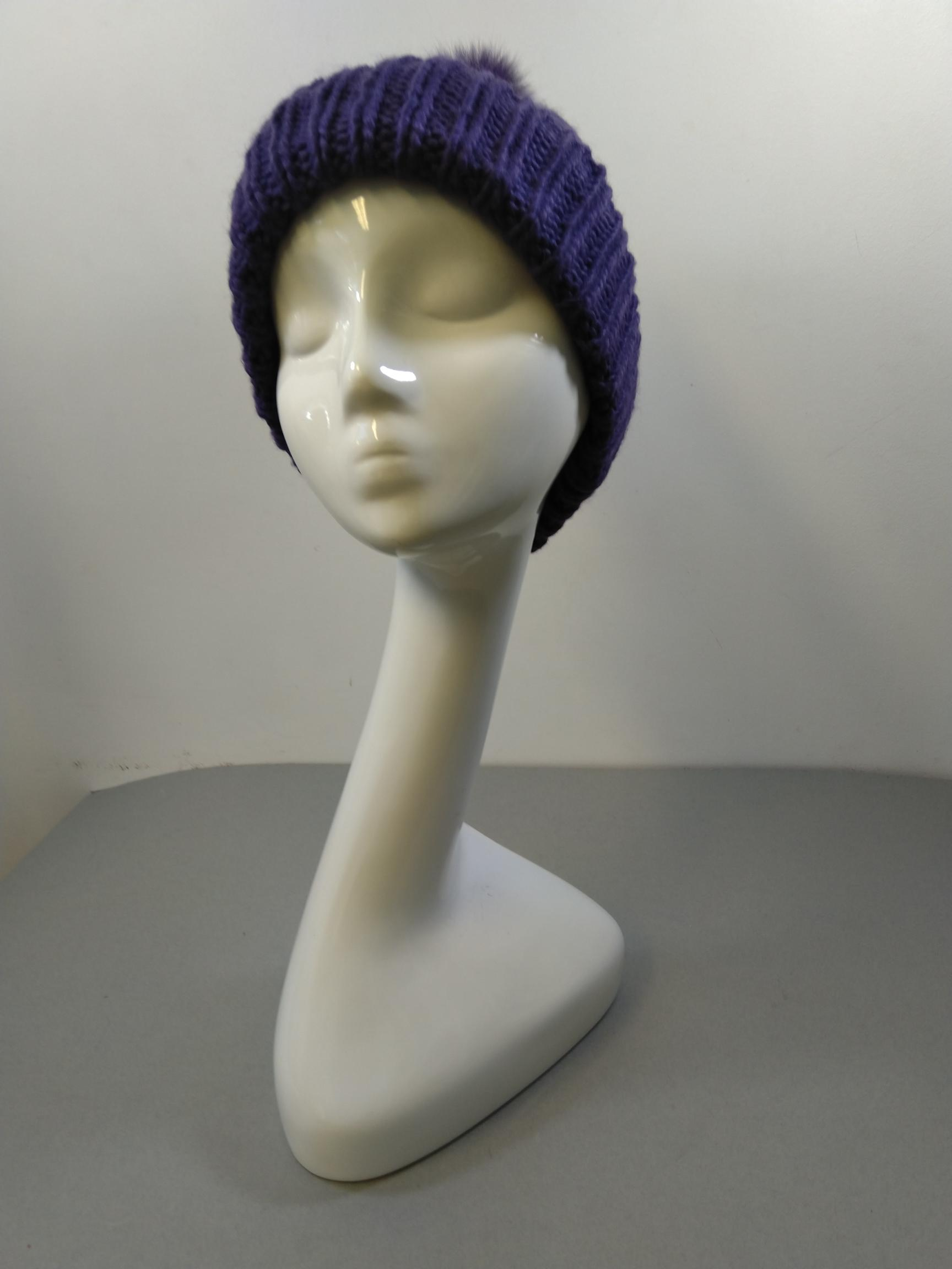 Sommerville Job Lot Of 20  Hand Cable Knitted Purple Hats With Fur Pom Pom One Size BNWT
