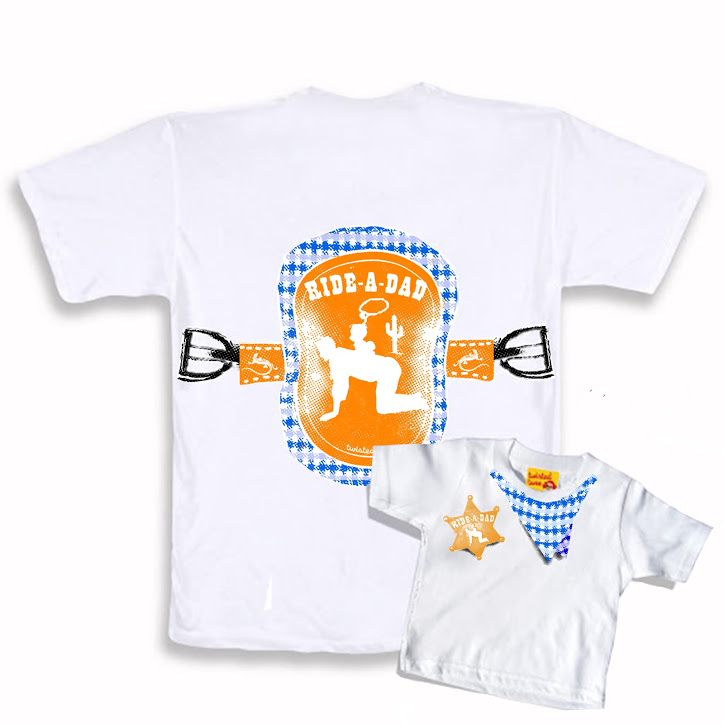 Cowboy t-shirt twinset for dad and child (assorted sizes) 100% Organic Cotton with silk screen print