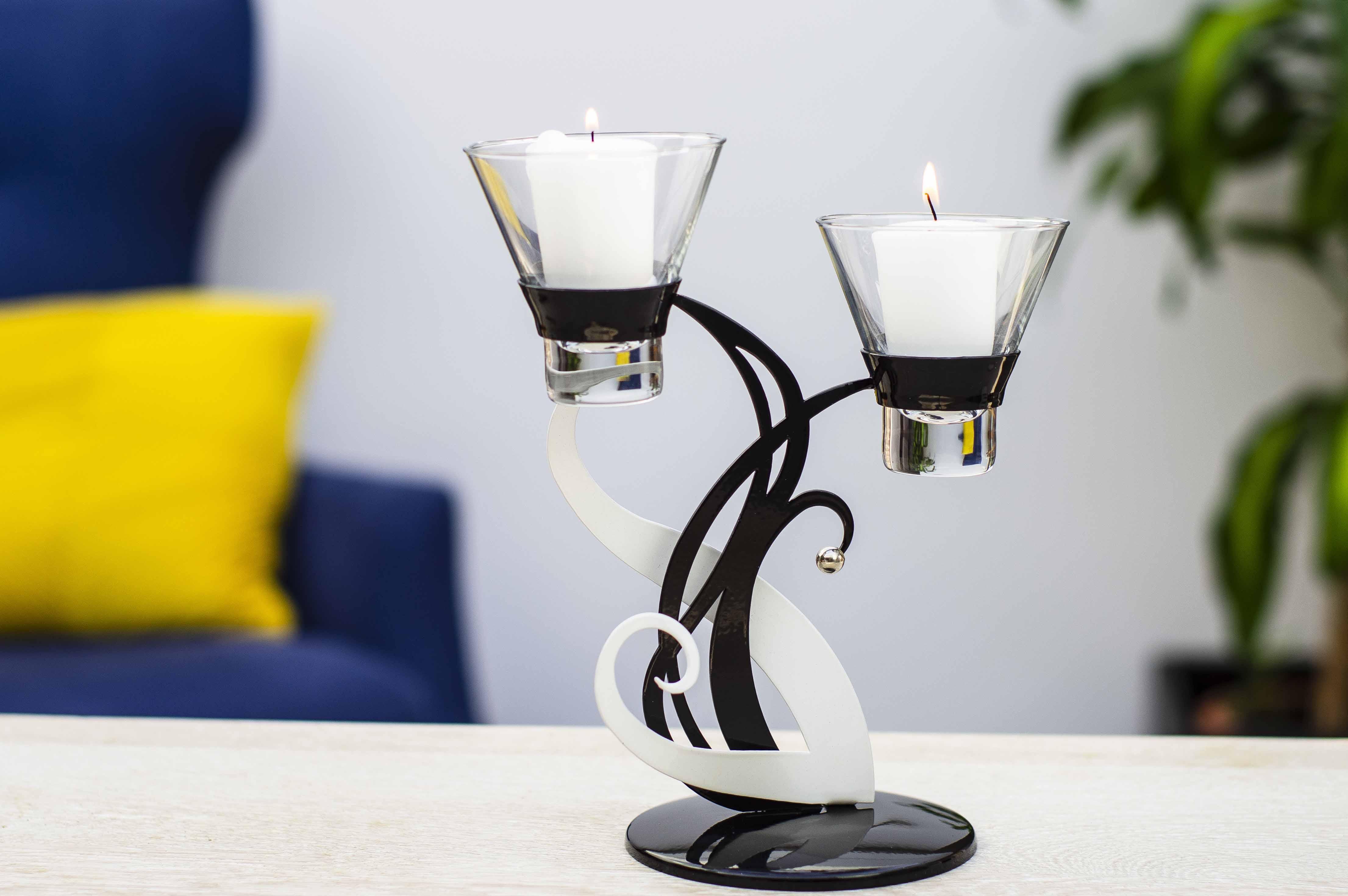 Candle Tea Light Holder Black & Silver Glass & Metal 10 holders (5 x single, 5 x double)