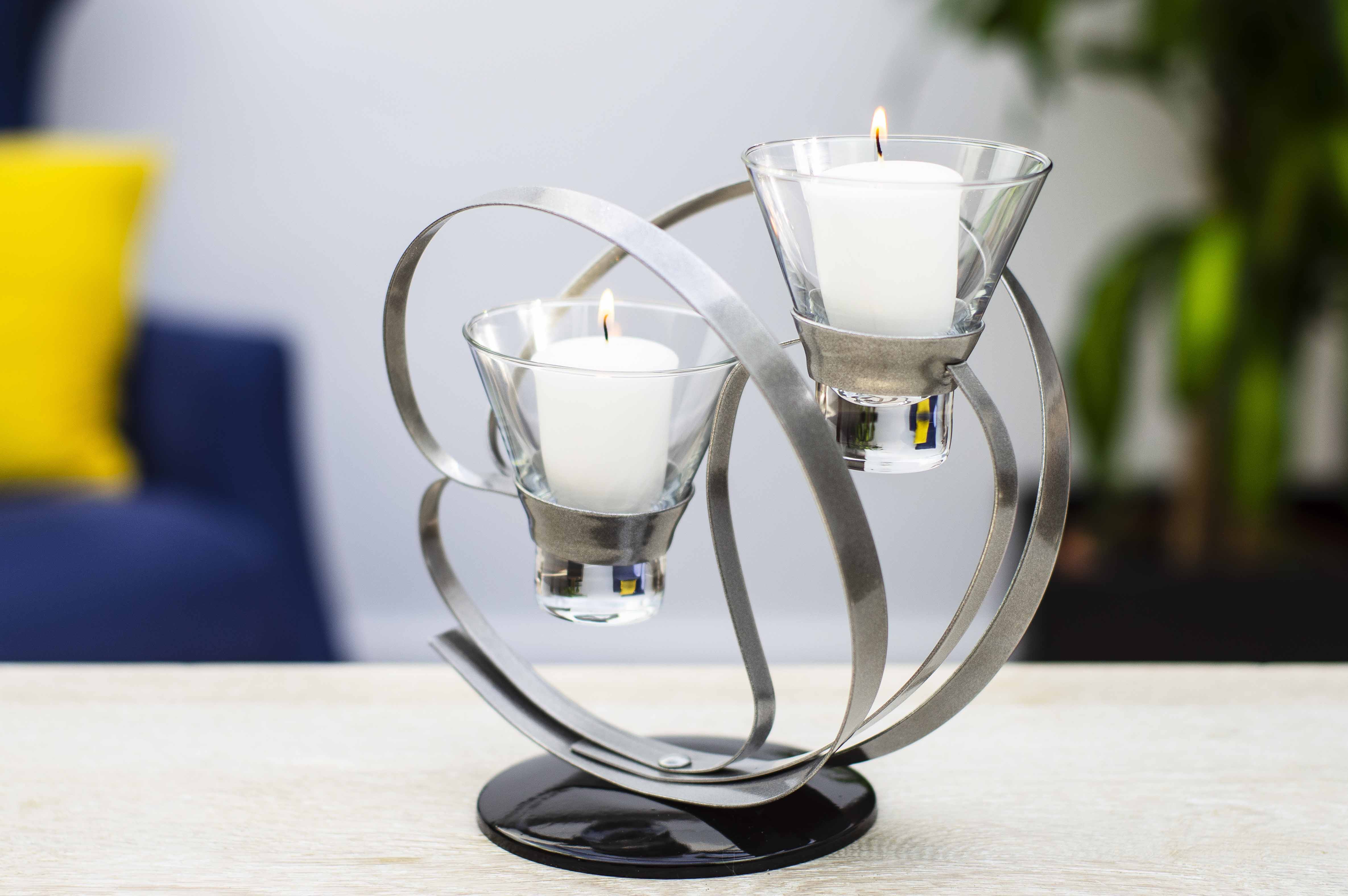 Candle Tea Light Holder Candlestick Black & Silver Glass & Metal set of 10 (4 single, 3 double, 3 lamp)