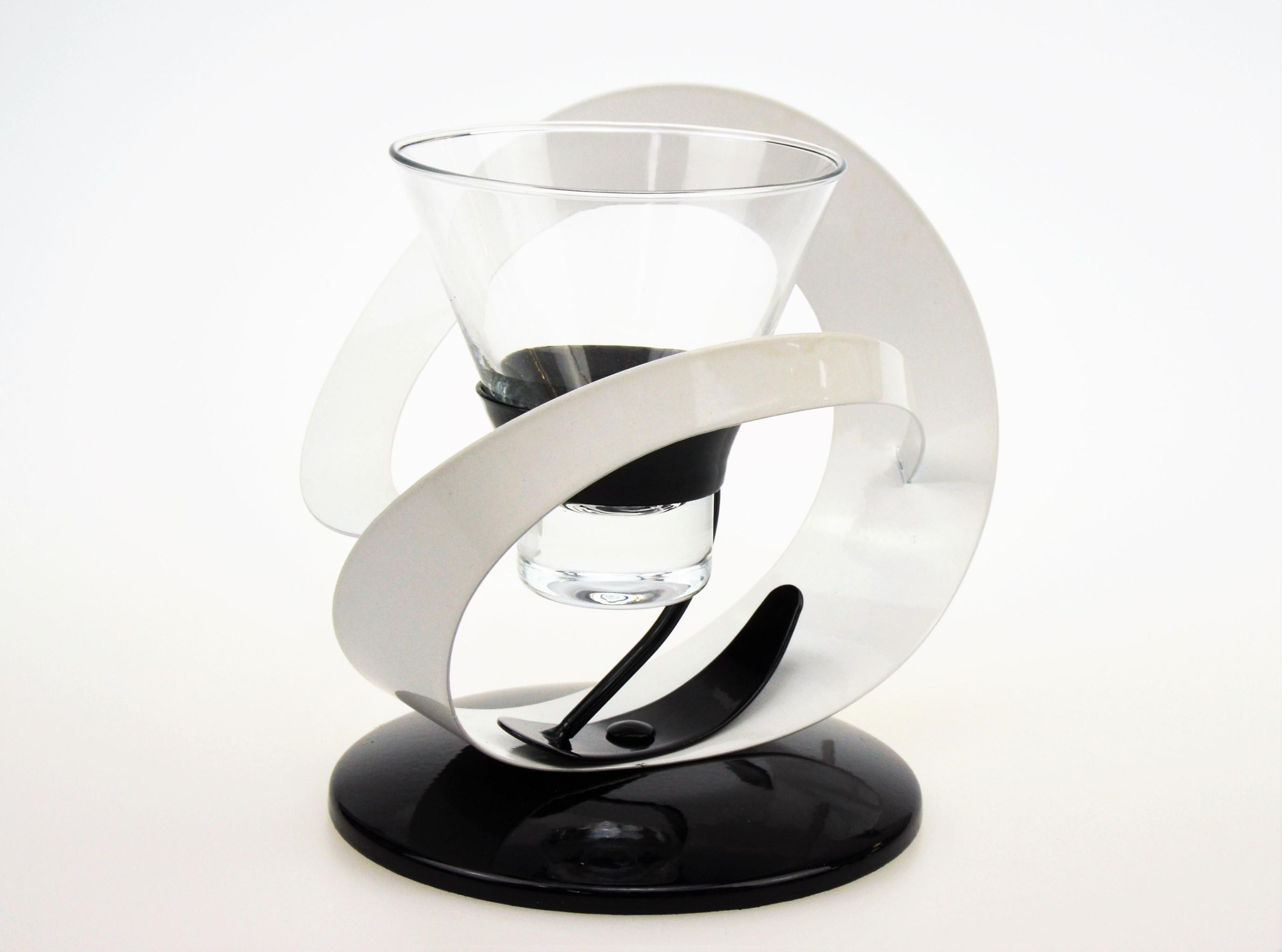 Candle Tea Light Holder Candlestick Black & White Glass & Metal set of 10 (4 single, 3 double, 3 lamp)