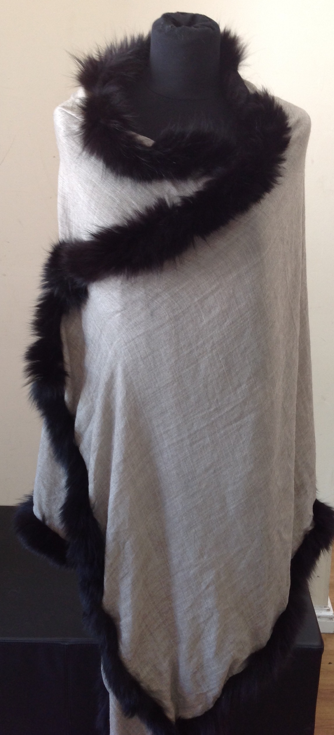 Job Lot Of Scarves 2 Black & 2 Navy With Fur Pom Poms , 1 Grey With Black Fur Trim & 1 Grey With Fur Grey Trim