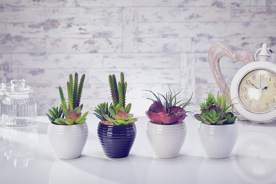 Artificial Flowers Plants Garden Home in Pot mix of 10 (3 styles)