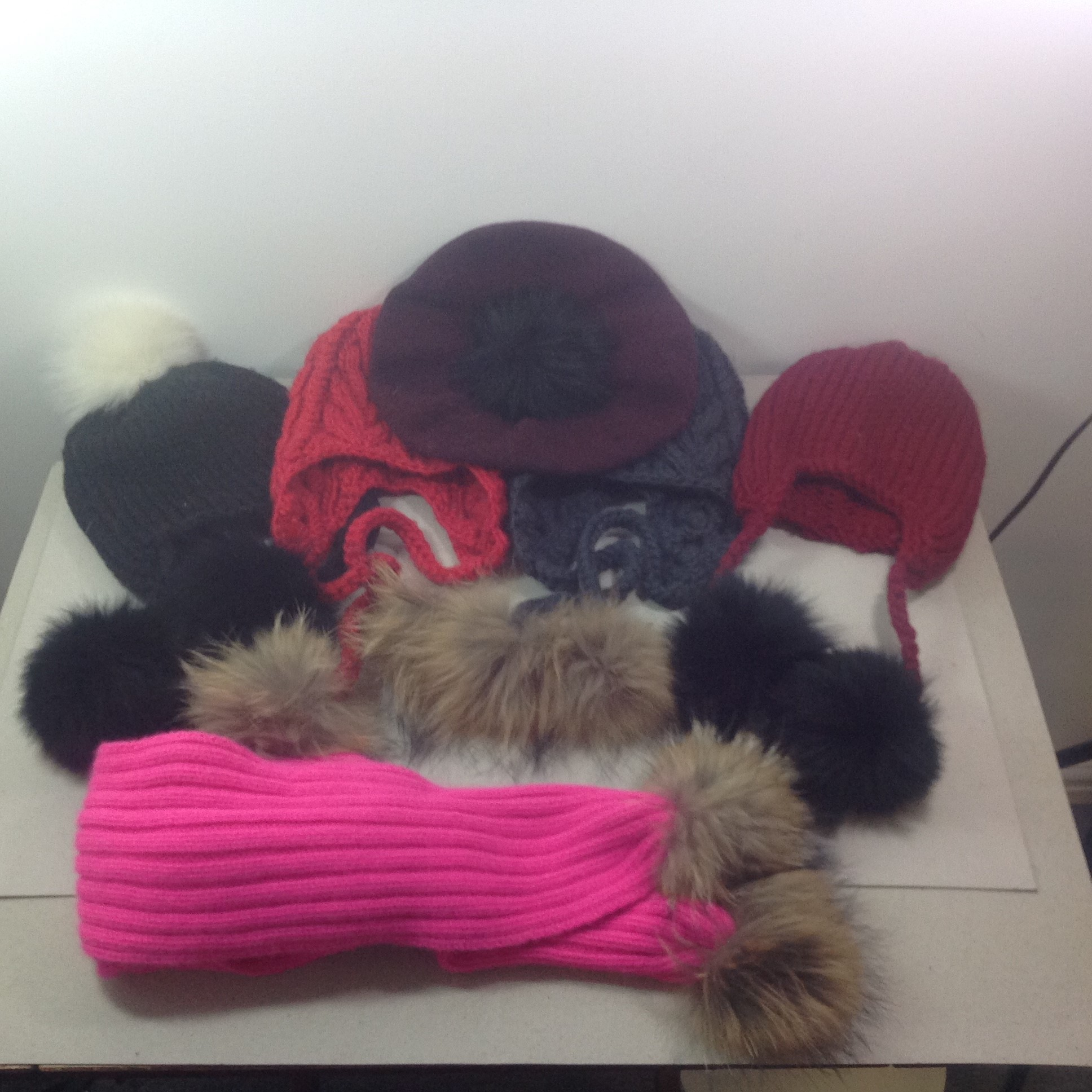 Job Lot Of Sommerville Hats 1 Black & 1 Pink,  I Red Beret &13 Acrylic Hats, 1 Bright PInk Scarf All With Pom Poms